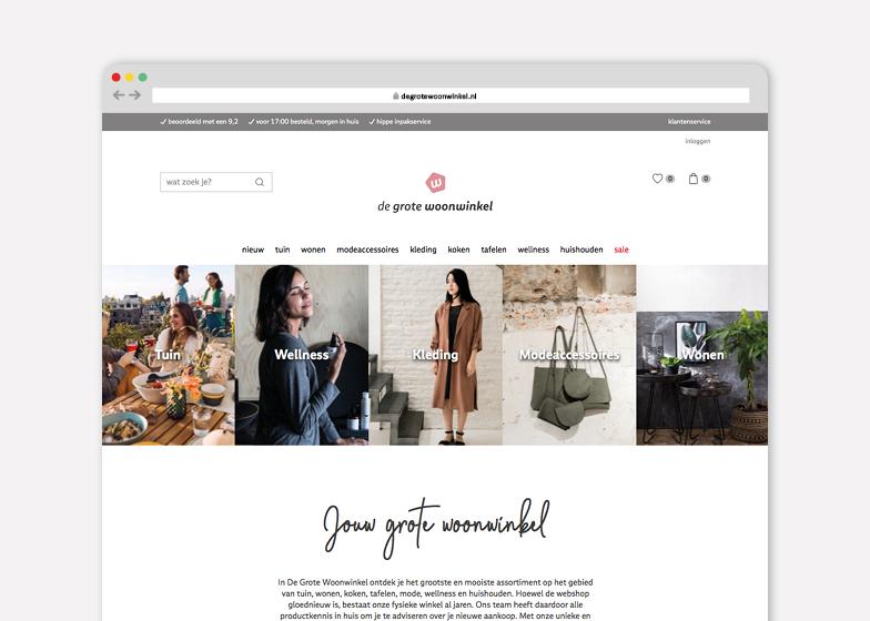 Voorbeeld van een webdesign. Deze website ontwierpen we voor De Grote Woonwinkel. Ontwerpbureau: burowit in Kampen