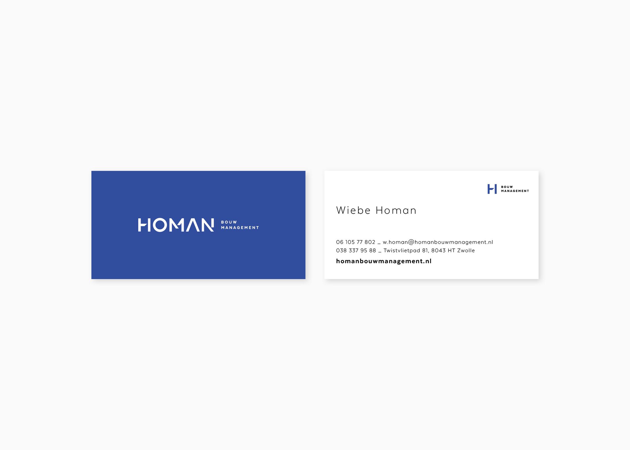 Visitekaartje-ontwerp-Homan-bouwmanagement-designer-burowit-Thirza-Bakker